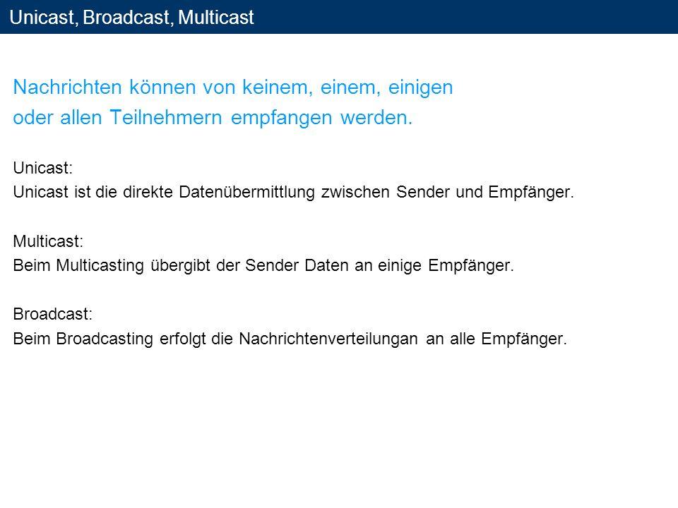 Unicast, Broadcast, Multicast Nachrichten können von keinem, einem, einigen oder allen Teilnehmern empfangen werden. Unicast: Unicast ist die direkte