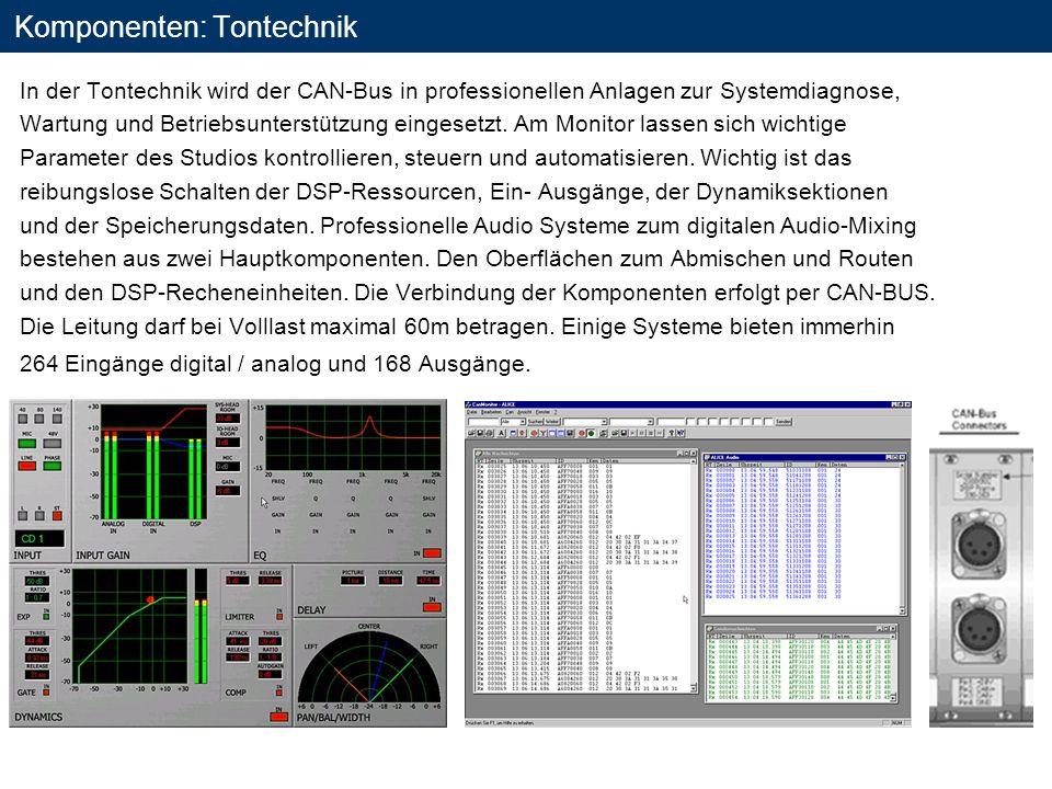 Komponenten: Tontechnik In der Tontechnik wird der CAN-Bus in professionellen Anlagen zur Systemdiagnose, Wartung und Betriebsunterstützung eingesetzt