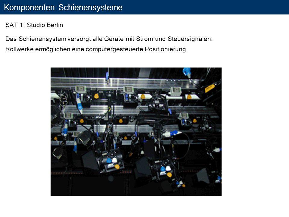 Komponenten: Schienensysteme SAT 1: Studio Berlin Das Schienensystem versorgt alle Geräte mit Strom und Steuersignalen. Rollwerke ermöglichen eine com