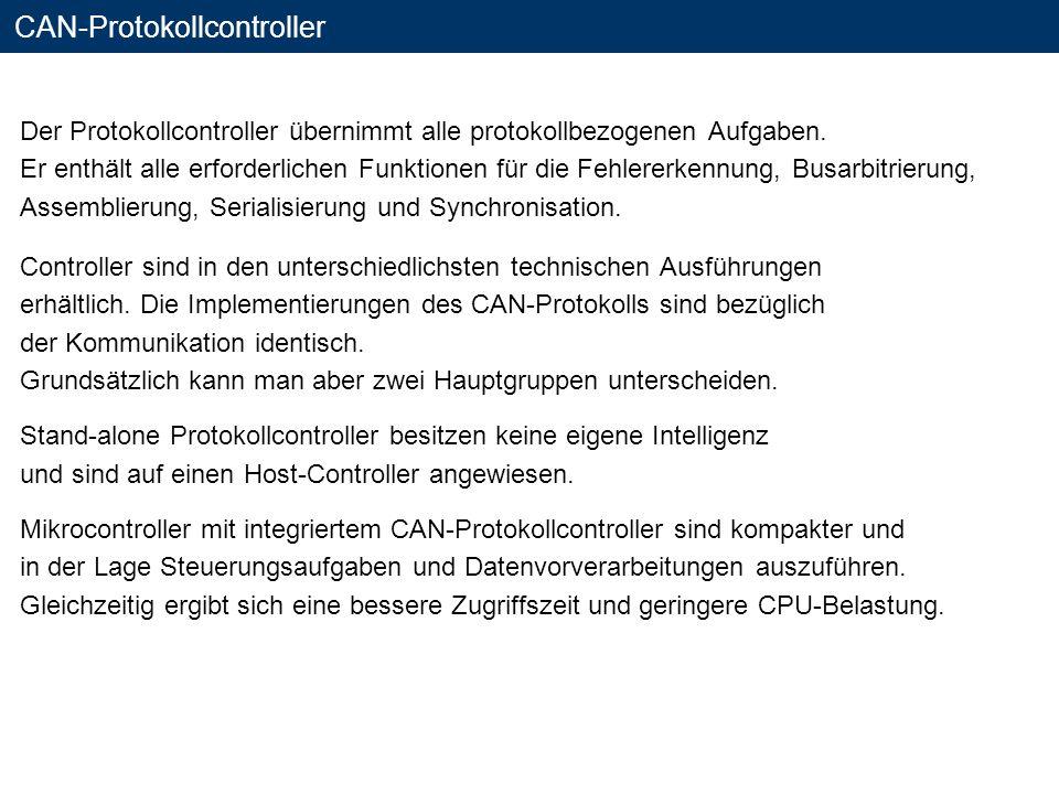 CAN-Protokollcontroller Der Protokollcontroller übernimmt alle protokollbezogenen Aufgaben. Er enthält alle erforderlichen Funktionen für die Fehlerer