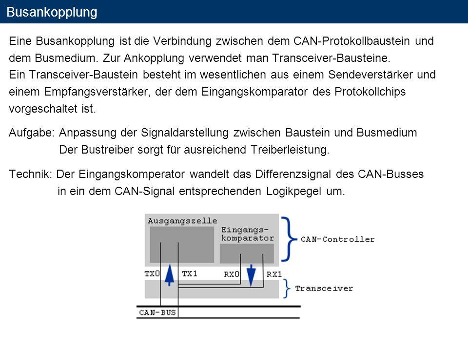 Busankopplung Eine Busankopplung ist die Verbindung zwischen dem CAN-Protokollbaustein und dem Busmedium. Zur Ankopplung verwendet man Transceiver-Bau