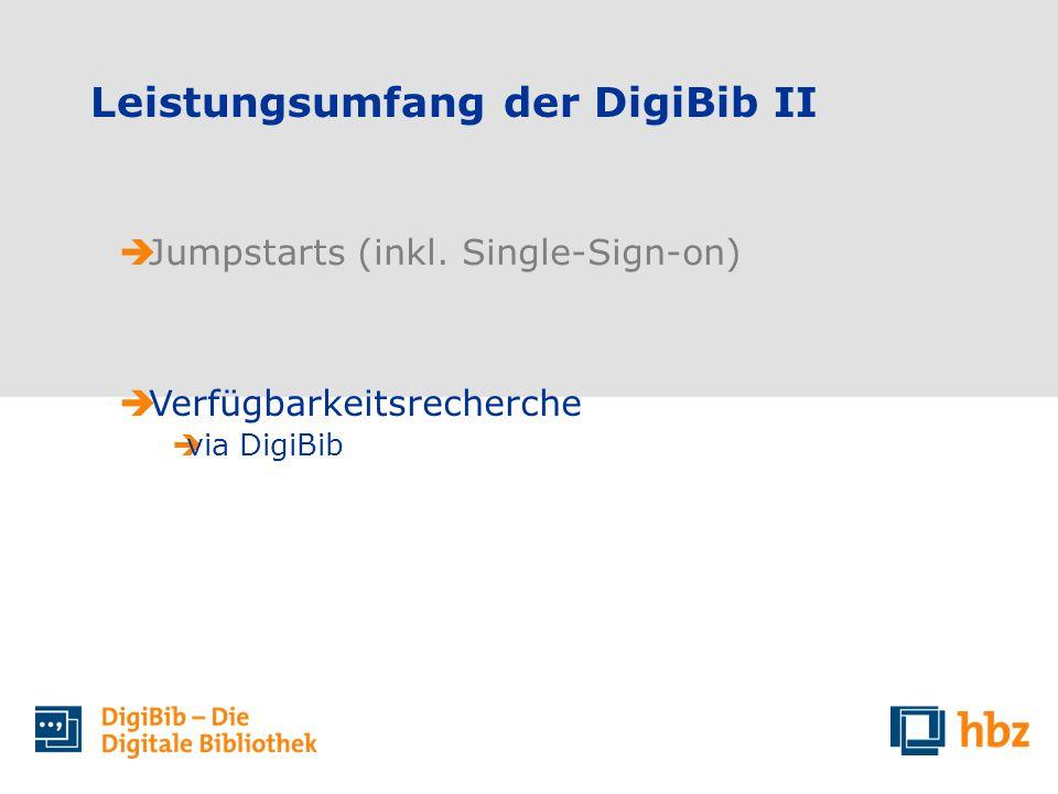 Leistungsumfang der DigiBib II Jumpstarts (inkl. Single-Sign-on) Verfügbarkeitsrecherche via DigiBib