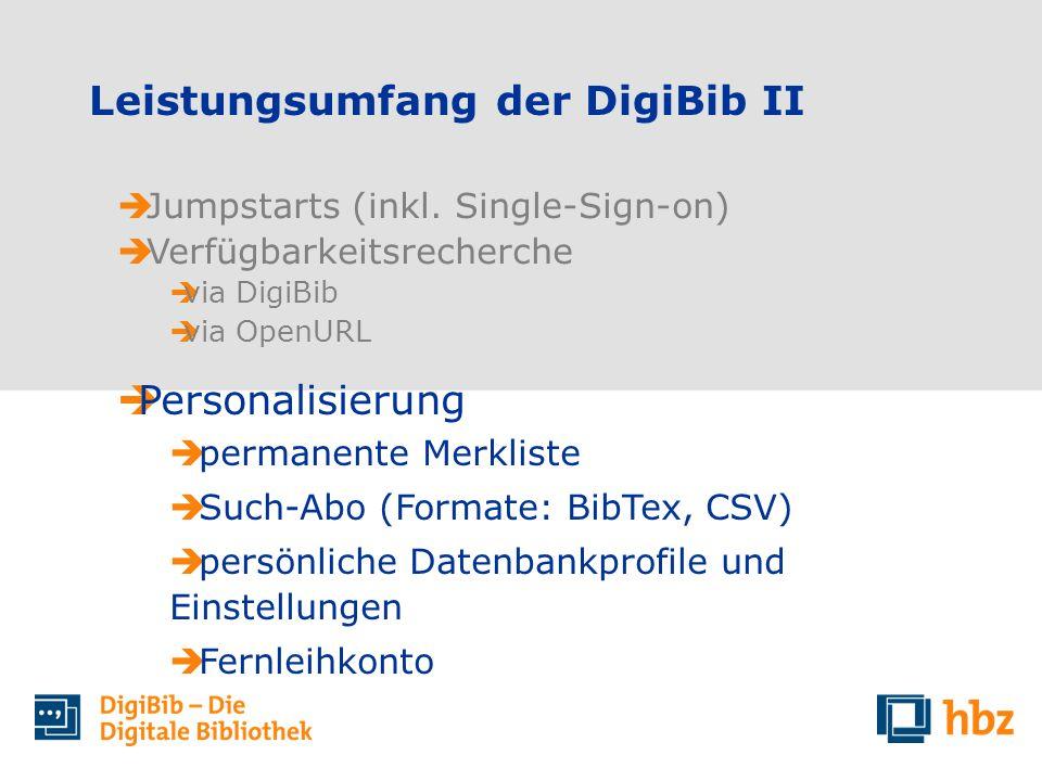Leistungsumfang der DigiBib II Jumpstarts (inkl. Single-Sign-on) Verfügbarkeitsrecherche via DigiBib via OpenURL Personalisierung permanente Merkliste