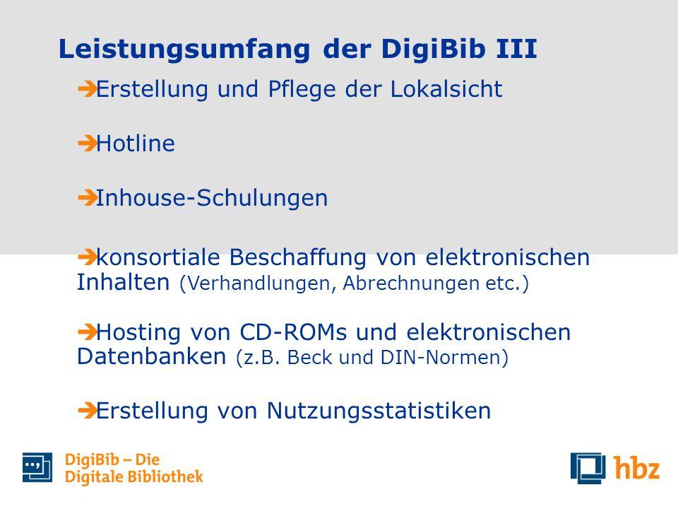 Leistungsumfang der DigiBib III Erstellung und Pflege der Lokalsicht Hotline Inhouse-Schulungen konsortiale Beschaffung von elektronischen Inhalten (Verhandlungen, Abrechnungen etc.) Hosting von CD-ROMs und elektronischen Datenbanken (z.B.