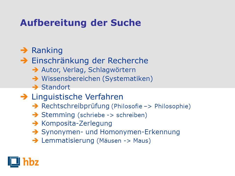 Aufbereitung der Suche Ranking Einschränkung der Recherche Autor, Verlag, Schlagwörtern Wissensbereichen (Systematiken) Standort Linguistische Verfahr