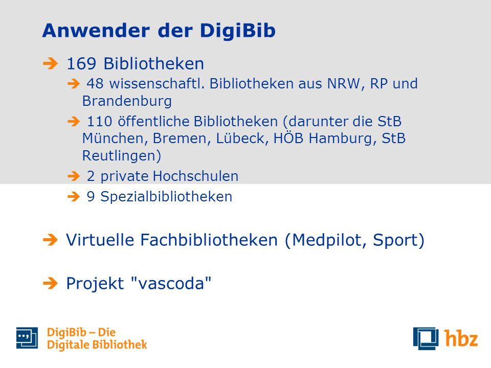 169 Bibliotheken 48 wissenschaftl. Bibliotheken aus NRW, RP und Brandenburg 110 öffentliche Bibliotheken (darunter die StB München, Bremen, Lübeck, HÖ