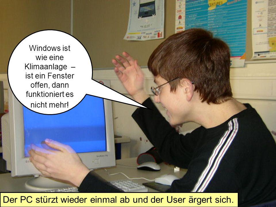 Er nimmt den Computer und wirft ihn aus dem Fenster. Jetzt hast du mich das letzte Mal geärgert!