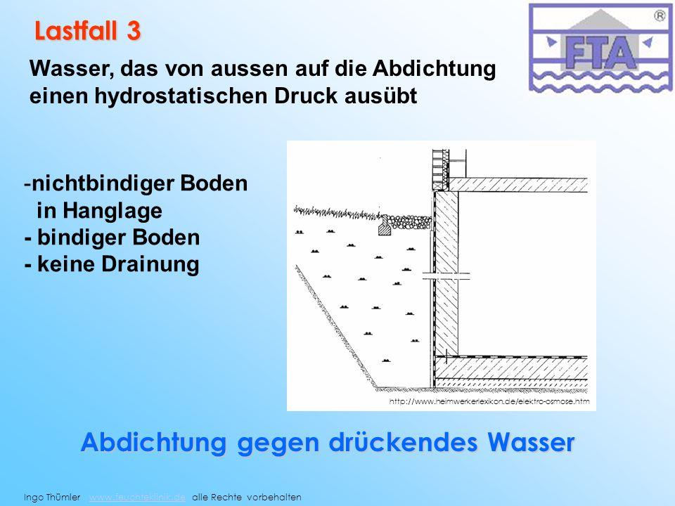 Lastfall 3 Wasser, das von aussen auf die Abdichtung einen hydrostatischen Druck ausübt -nichtbindiger Boden in Hanglage - bindiger Boden - keine Drai