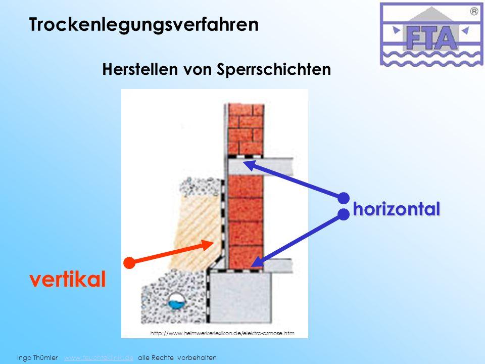 Trockenlegungsverfahren horizontal vertikal Herstellen von Sperrschichten Ingo Thümler www.feuchteklinik.de alle Rechte vorbehaltenwww.feuchteklinik.d
