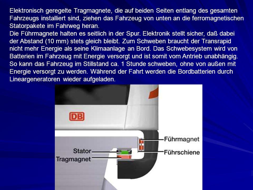 Elektronisch geregelte Tragmagnete, die auf beiden Seiten entlang des gesamten Fahrzeugs installiert sind, ziehen das Fahrzeug von unten an die ferrom