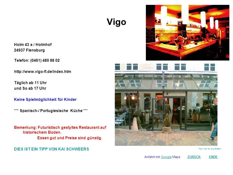 Grisou Holm 45 / Holmhof 24937 Flensburg Telefon: (0461) 480 899 66 http://www.dasgrisou.de/ die Küche brutzelt täglich von 10.30 - 16.00 Uhr und wieder von 17.00 - 23.00 Uhr (Sonntags bis 22.00 Uhr) Keine Spielmöglichkeit für Kinder *** Deutsche / Alternative Küche *** Bemerkung: Von der Kneipe an der Hafenspitze für Alternative zum Restaurant auf dem Holmhof.