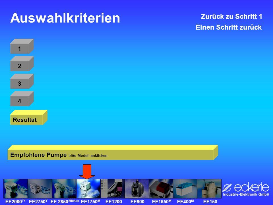 Auswahlkriterien 1 Resultat 2 3 4 Zurück zu Schritt 1 Empfohlene Pumpe bitte Modell anklicken Einen Schritt zurück EE2000 T1 EE2750 T EE 2850 Silence EE1750 M EE1200 EE900 EE1650 M EE400 M EE150