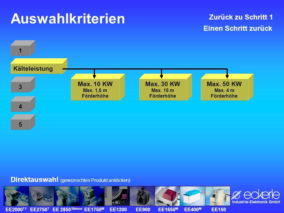 Auswahlkriterien 1 Kälteleistung 3 4 5 Direktauswahl (gewünschtes Produkt anklicken) Max.