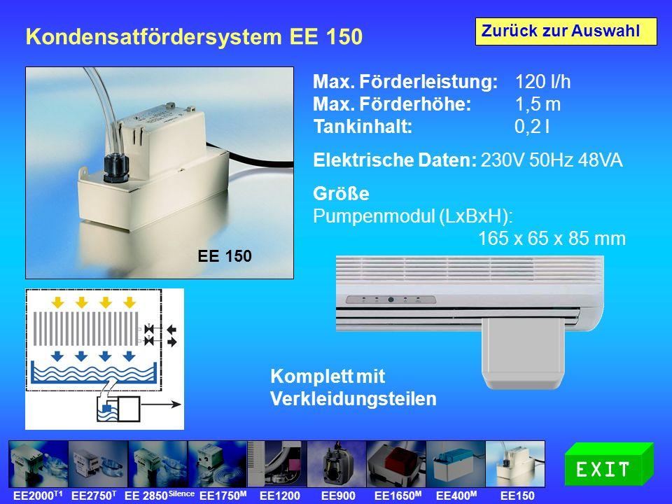 Kondensatfördersystem EE 150 Max. Förderleistung: 120 l/h Max.