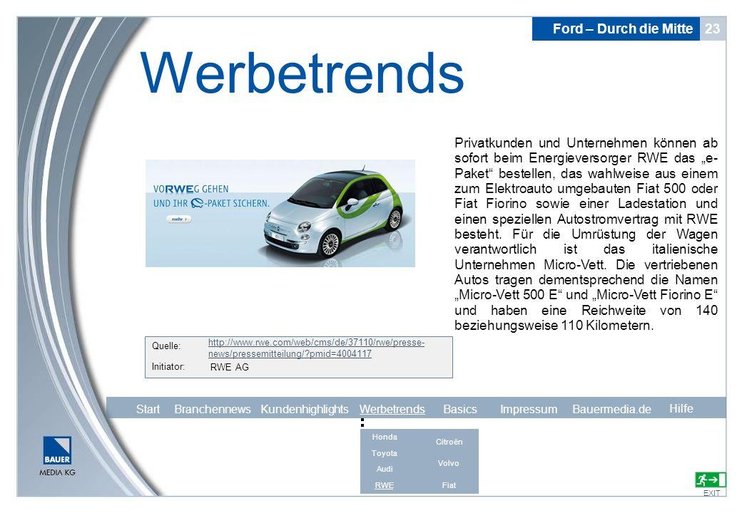 Ford – Durch die Mitte 23 Werbetrends EXIT Hilfe Quelle: Initiator: http://www.rwe.com/web/cms/de/37110/rwe/presse- news/pressemitteilung/?pmid=400411