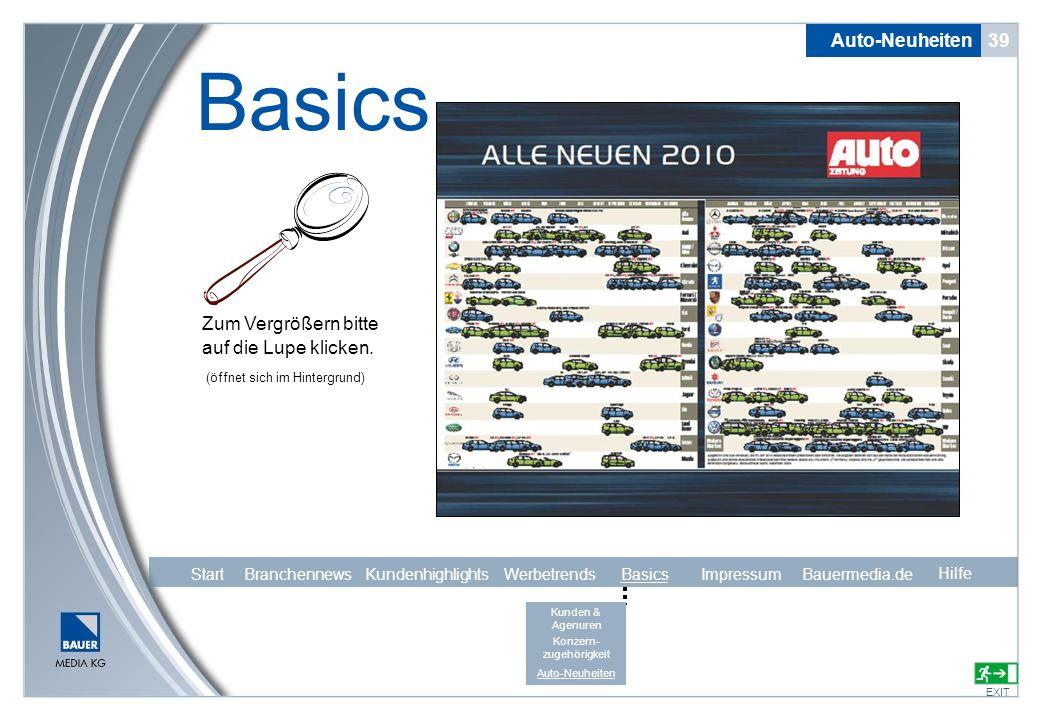 Auto-Neuheiten 39 Basics EXIT Zum Vergrößern bitte auf die Lupe klicken. Hilfe (öffnet sich im Hintergrund) Start Branchennews Kundenhighlights Werbet