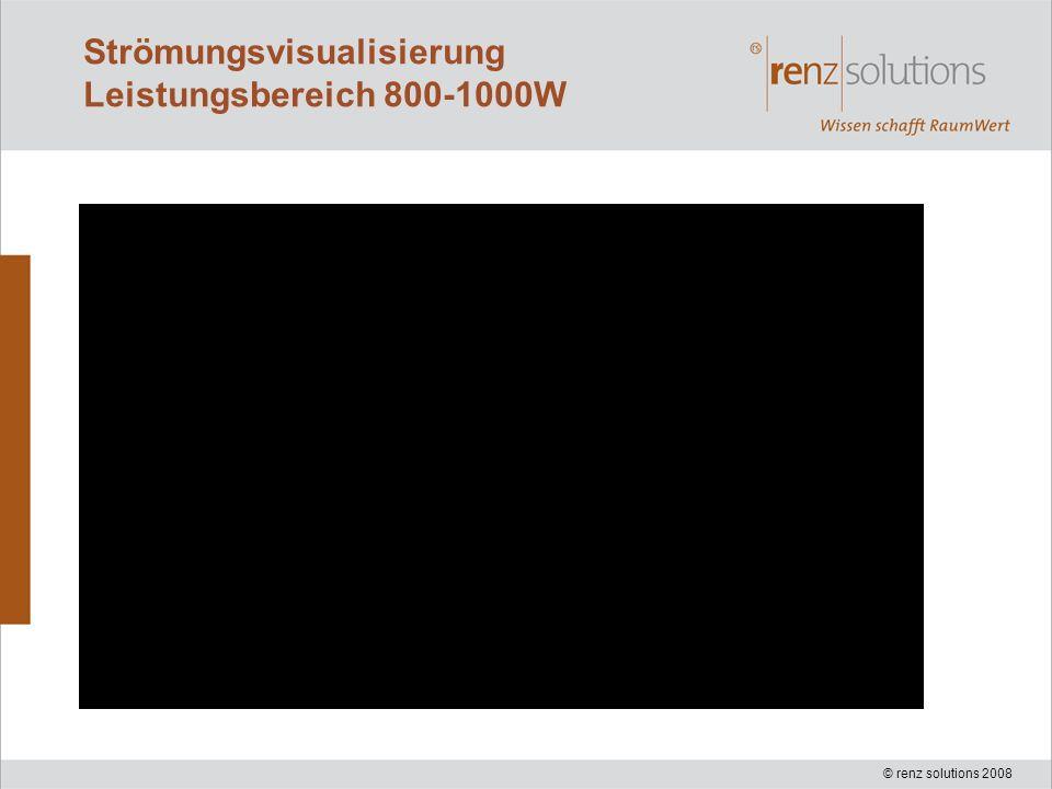 © renz solutions 2008 Strömungsvisualisierung Leistungsbereich 800-1000W