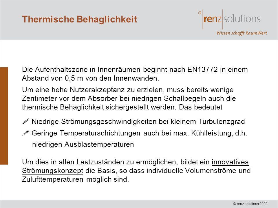 © renz solutions 2008 Thermische Behaglichkeit Die Aufenthaltszone in Innenräumen beginnt nach EN13772 in einem Abstand von 0,5 m von den Innenwänden.