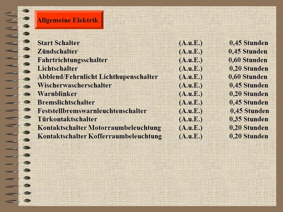 Allgemeine Elektrik Scheinwerferlampe (A.u.E.) 0,25 Stunden Schlussleuchte beliebige lampe (A.u.E.) 0,20 Stunden Tachokontrolllampe beliebige (A.u.E.)