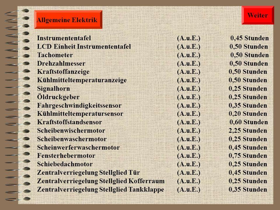 Allgemeine Elektrik Start Schalter(A.u.E.) 0,45 Stunden Zündschalter(A.u.E.) 0,45 Stunden Fahrtrichtungsschalter (A.u.E.) 0,60 Stunden Lichtschalter(A