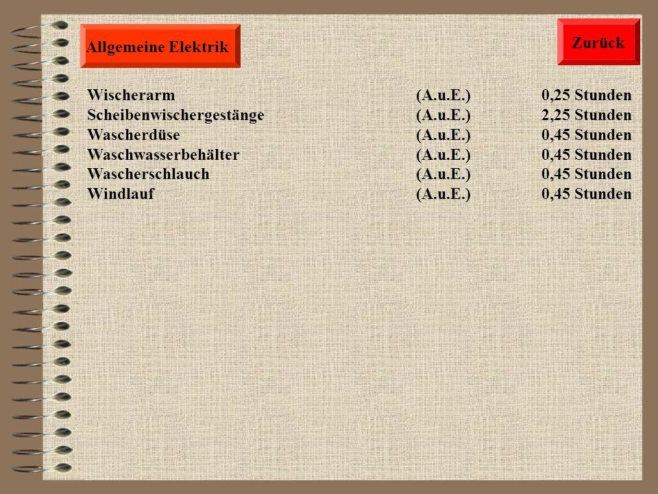 Allgemeine Elektrik Instrumententafel(A.u.E.) 0,45 Stunden LCD Einheit Instrumententafel (A.u.E.) 0,50 Stunden Tachometer(A.u.E.) 0,50 Stunden Drehzah