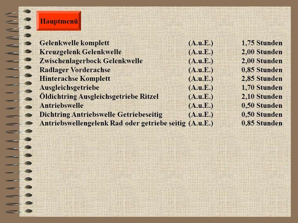 Allgemeine Elektrik Zurück Wischerarm (A.u.E.) 0,25 Stunden Scheibenwischergestänge (A.u.E.) 2,25 Stunden Wascherdüse (A.u.E.) 0,45 Stunden Waschwasse