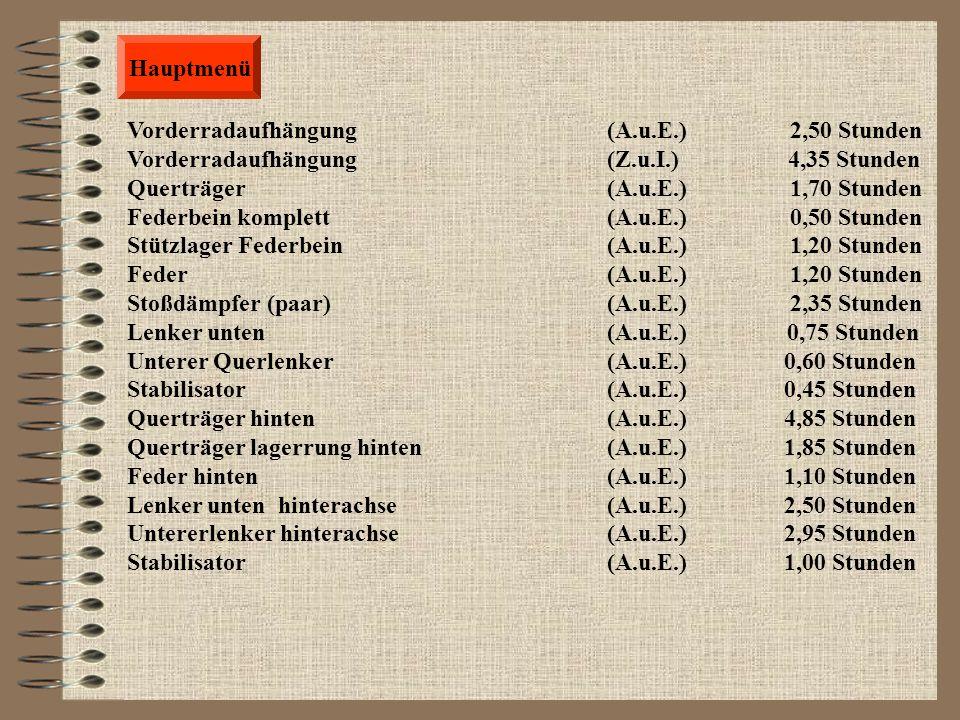 Hauptmenü Steuergerät für Zündung u. Einspritzung (A.u.E.) 0,25 Stunden Zündkerzen (A.u.E.) 1,00 Stunden Zündspule (A.u.E.) 0,20 Stunden Verteilerkapp