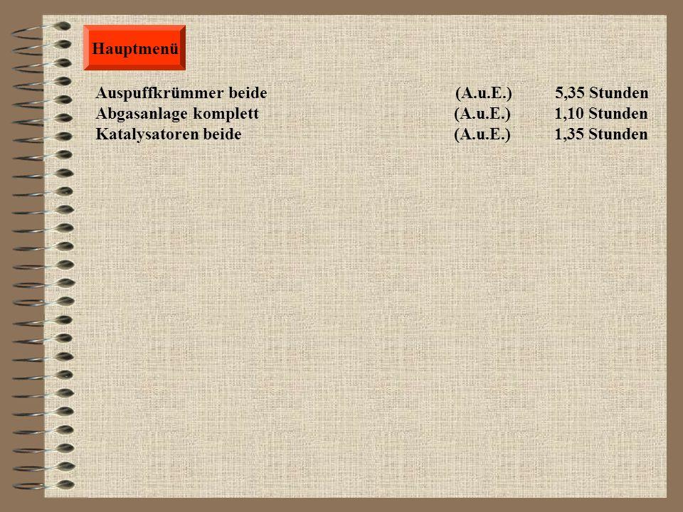 Karosserie Stoßfänger hinten komplett (A.u.E.) 0,25 Stunden Stoßfänger hinten mit PDC (A.u.E.) 0,45 Stunden Stoßfänger hinten komplett (A.u.Ers.) 1,35