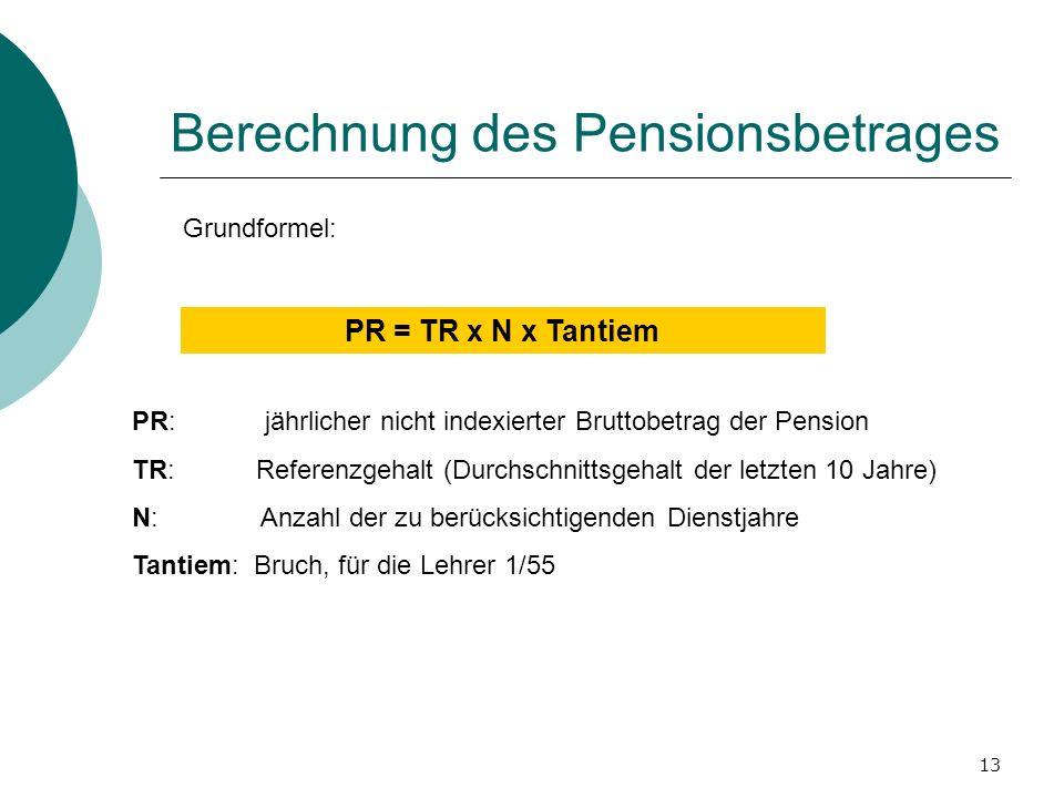 13 Berechnung des Pensionsbetrages Grundformel: PR = TR x N x Tantiem PR: jährlicher nicht indexierter Bruttobetrag der Pension TR: Referenzgehalt (Du