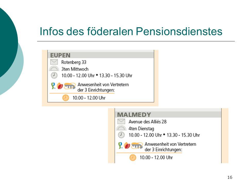 16 Infos des föderalen Pensionsdienstes