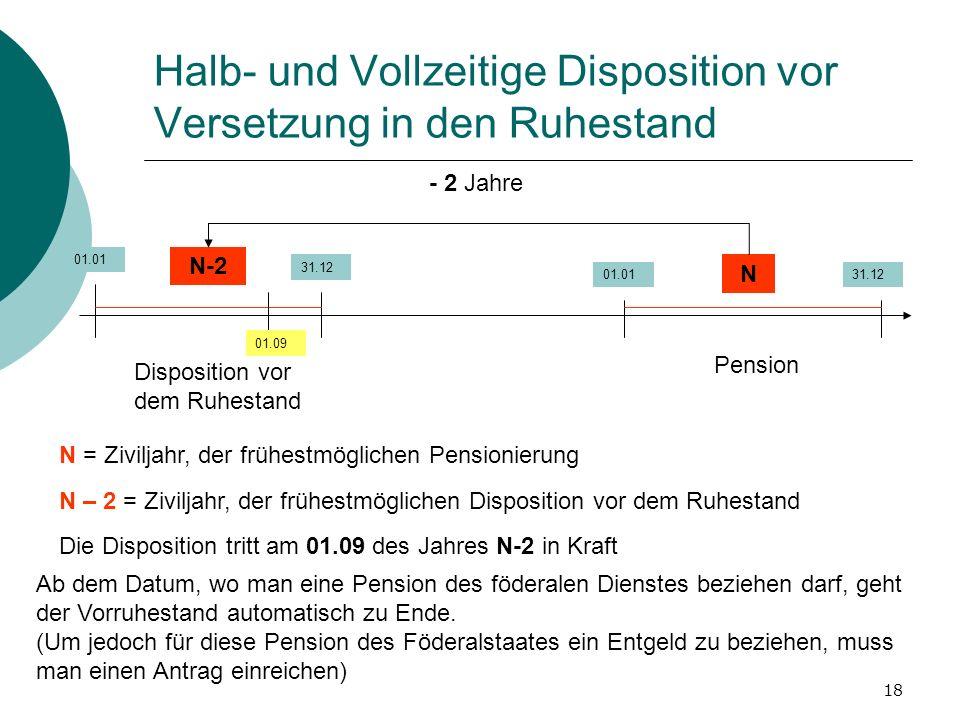 18 Halb- und Vollzeitige Disposition vor Versetzung in den Ruhestand 01.01 31.12 01.0131.12 N N-2 N = Ziviljahr, der frühestmöglichen Pensionierung N