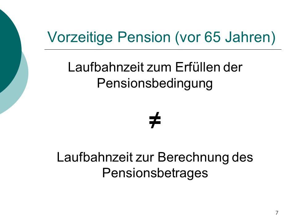 7 Vorzeitige Pension (vor 65 Jahren) Laufbahnzeit zum Erfüllen der Pensionsbedingung Laufbahnzeit zur Berechnung des Pensionsbetrages