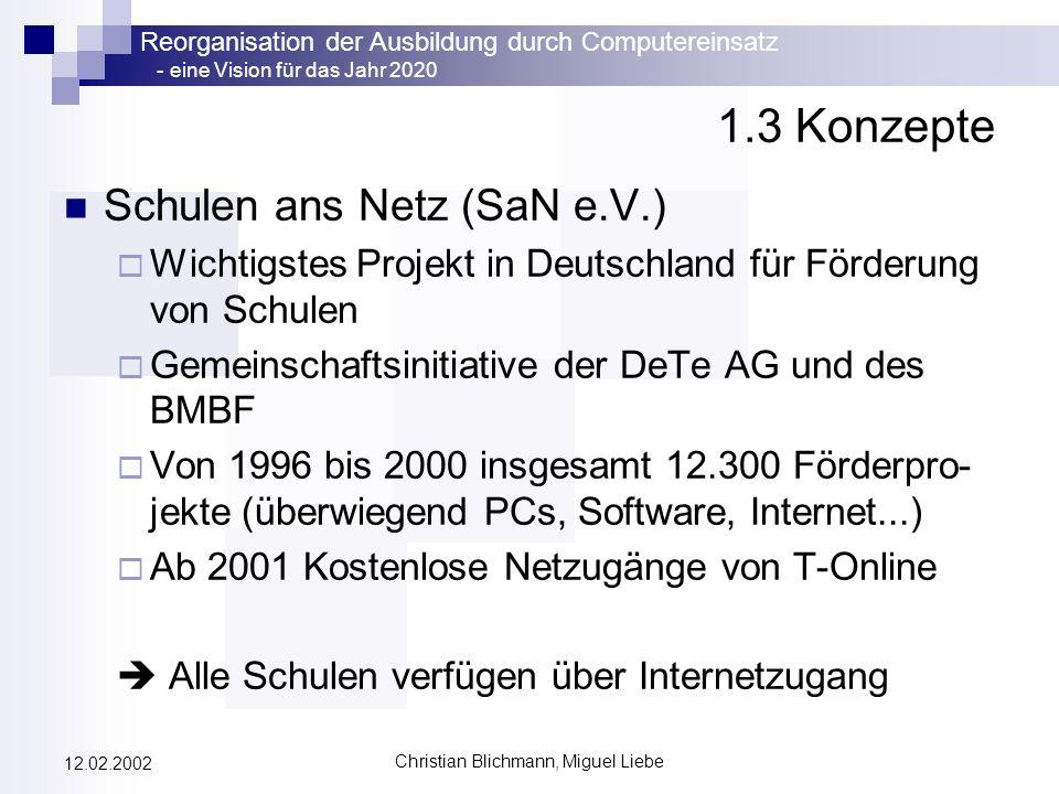 Reorganisation der Ausbildung durch Computereinsatz - eine Vision für das Jahr 2020 Christian Blichmann, Miguel Liebe 12.02.2002 1.3 Konzepte Schulen