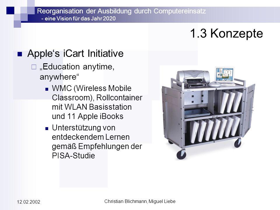 Reorganisation der Ausbildung durch Computereinsatz - eine Vision für das Jahr 2020 Christian Blichmann, Miguel Liebe 12.02.2002 1.3 Konzepte Apples i