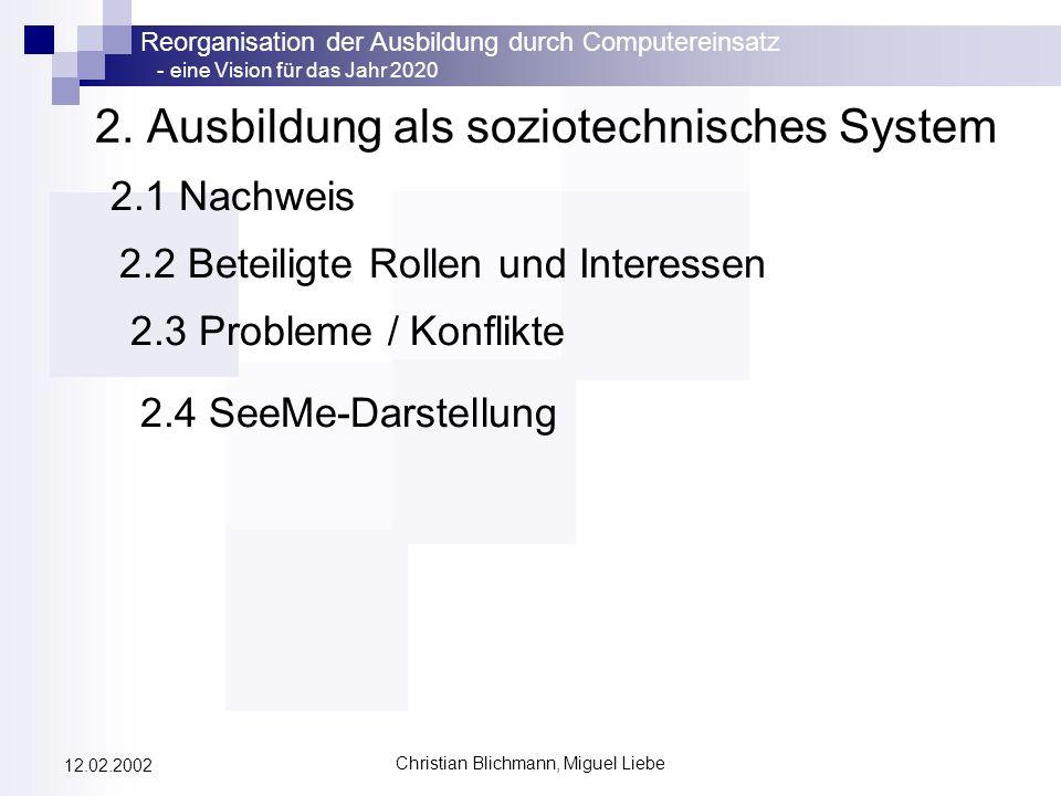 Reorganisation der Ausbildung durch Computereinsatz - eine Vision für das Jahr 2020 Christian Blichmann, Miguel Liebe 12.02.2002 2. Ausbildung als soz