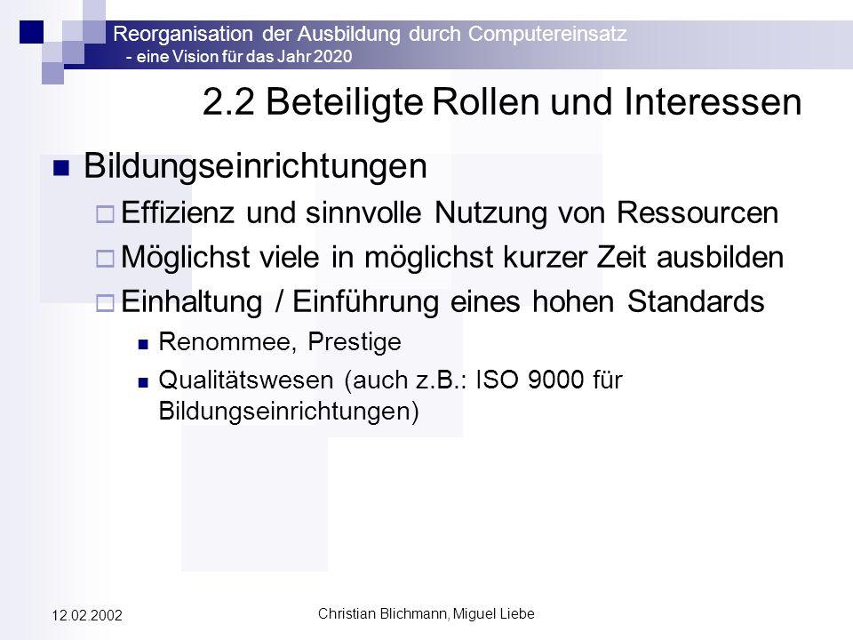Reorganisation der Ausbildung durch Computereinsatz - eine Vision für das Jahr 2020 Christian Blichmann, Miguel Liebe 12.02.2002 2.2 Beteiligte Rollen