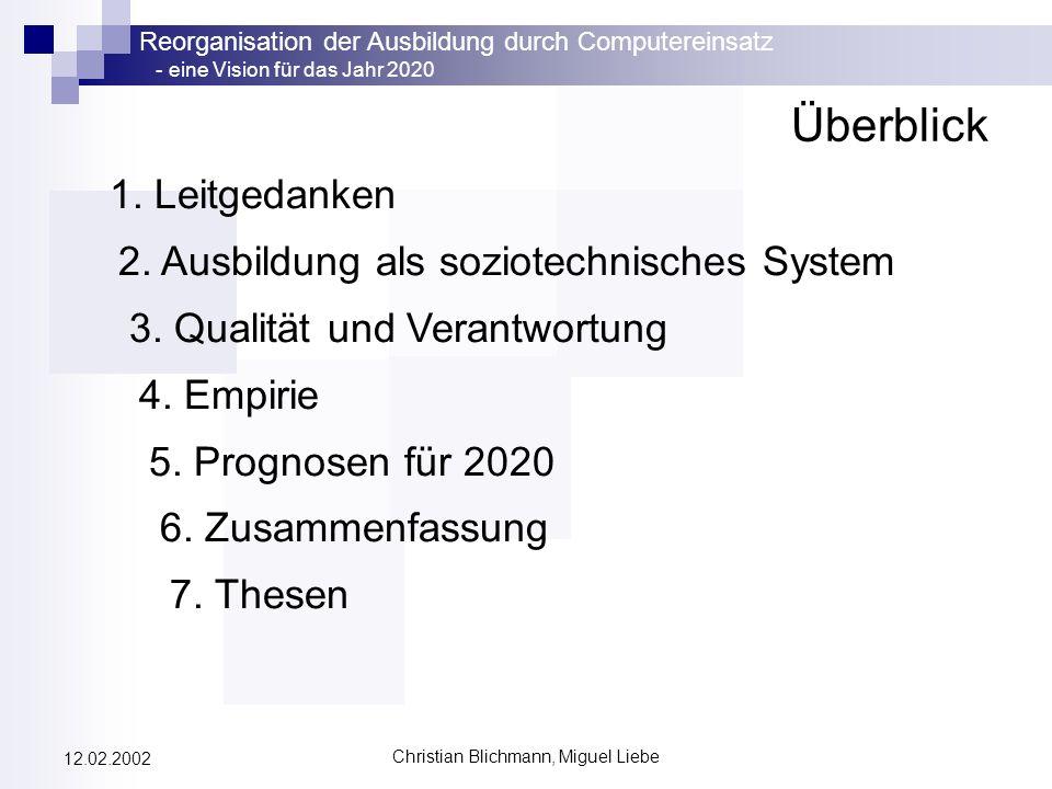 Reorganisation der Ausbildung durch Computereinsatz - eine Vision für das Jahr 2020 Christian Blichmann, Miguel Liebe 12.02.2002 Überblick 1. Leitgeda