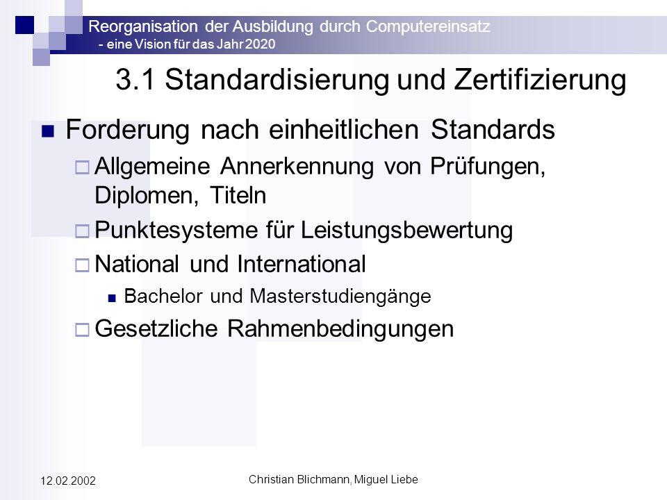 Reorganisation der Ausbildung durch Computereinsatz - eine Vision für das Jahr 2020 Christian Blichmann, Miguel Liebe 12.02.2002 3.1 Standardisierung