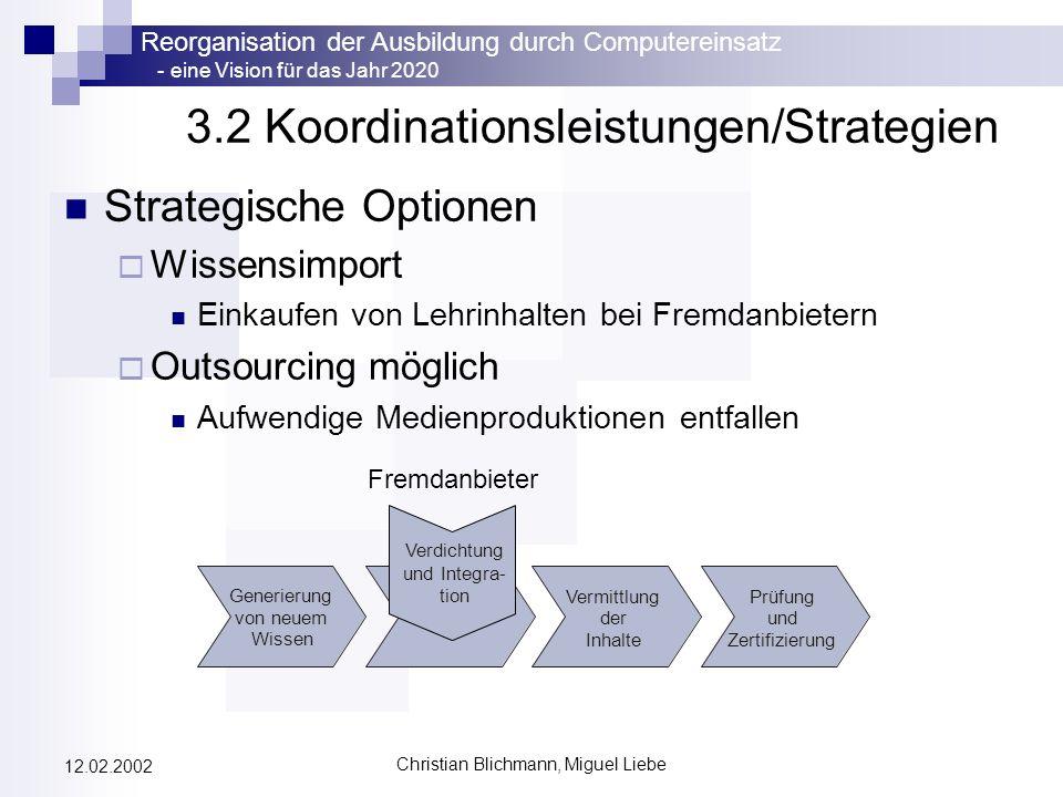 Reorganisation der Ausbildung durch Computereinsatz - eine Vision für das Jahr 2020 Christian Blichmann, Miguel Liebe 12.02.2002 3.2 Koordinationsleis