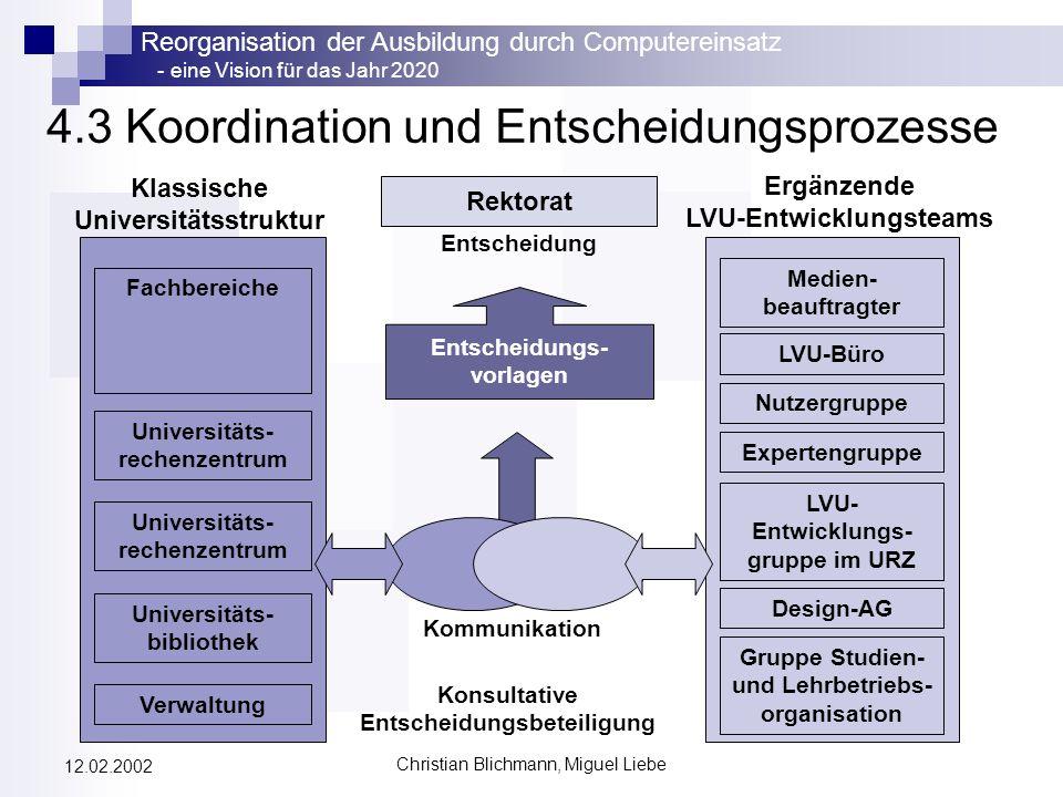 Reorganisation der Ausbildung durch Computereinsatz - eine Vision für das Jahr 2020 Christian Blichmann, Miguel Liebe 12.02.2002 4.3 Koordination und