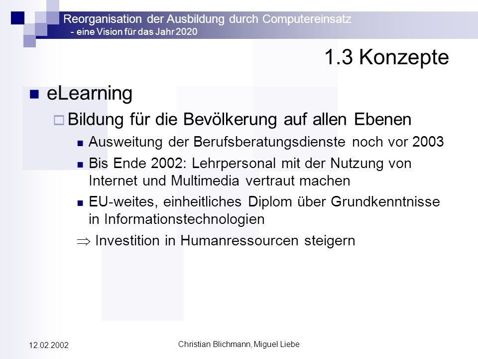 Reorganisation der Ausbildung durch Computereinsatz - eine Vision für das Jahr 2020 Christian Blichmann, Miguel Liebe 12.02.2002 4.2 Reorganisation: Ziele und Durchführung Ziel: Lernraum Virtuelle Universität (LVU) Schaffung eines virtuellen Lernraumes bzw.