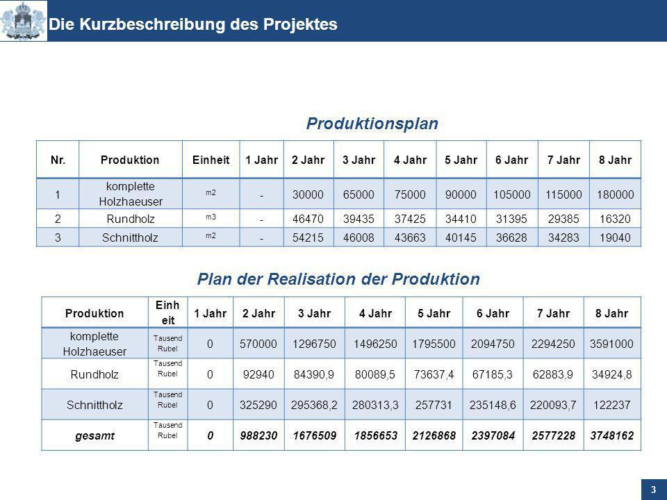 Das Gesamtkosten des Projektes betraegt 909 616 Tausend Rubel ohne MwSt, darunter eigene Mittel 30 %, fremde Mittel - 70 %.
