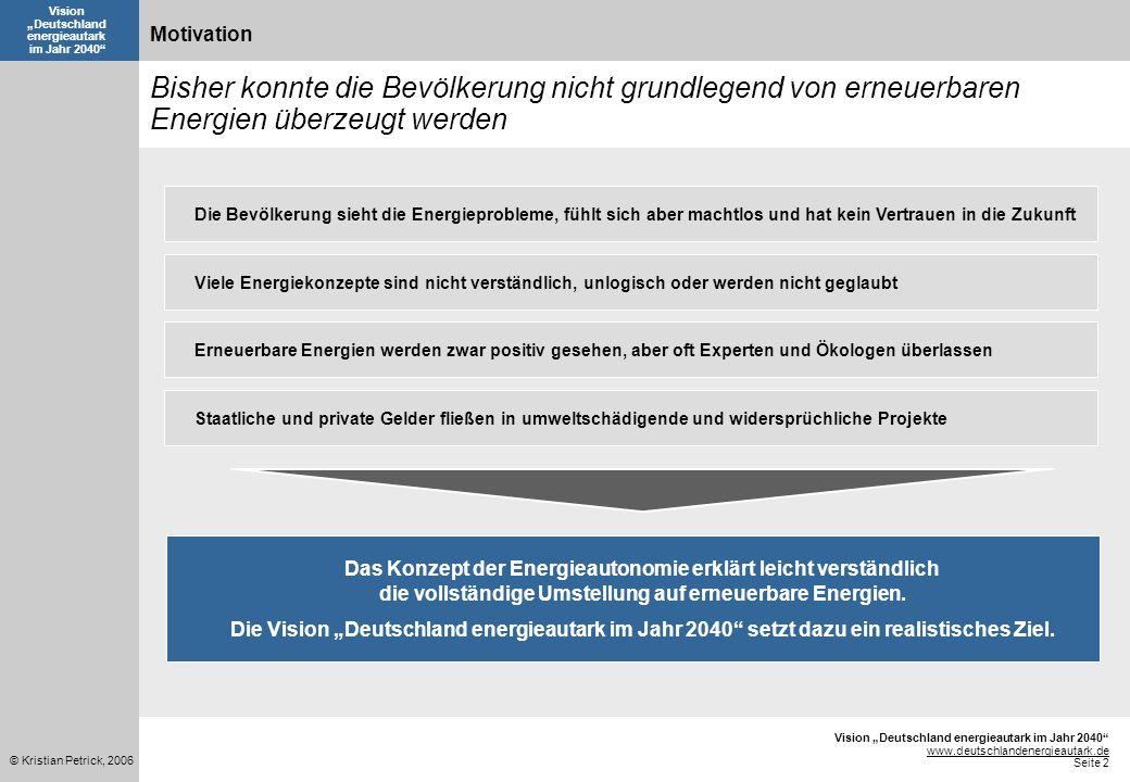 Vision Deutschland energieautark im Jahr 2040 www.deutschlandenergieautark.de Seite 2 © Kristian Petrick, 2006 Vision Deutschland energieautark im Jah