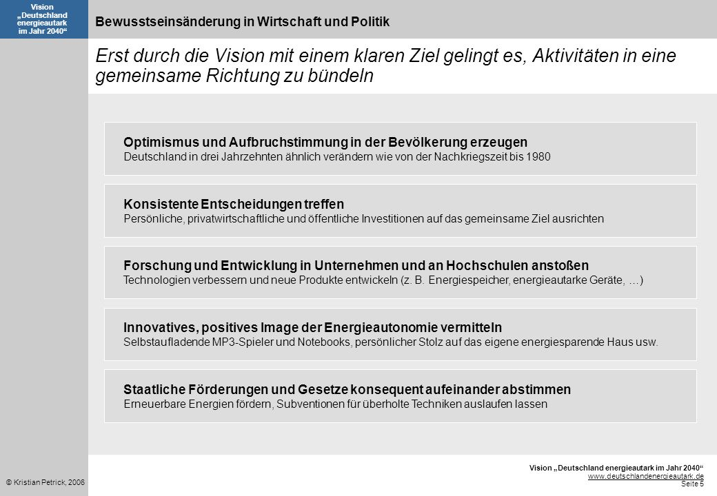 www.deutschlandenergieautark.de Seite 5 © Kristian Petrick, 2006 Vision Deutschland energieautark im Jahr 2040 Konsistente Entscheidungen treffen Persönliche, privatwirtschaftliche und öffentliche Investitionen auf das gemeinsame Ziel ausrichten Staatliche Förderungen und Gesetze konsequent aufeinander abstimmen Erneuerbare Energien fördern, Subventionen für überholte Techniken auslaufen lassen Forschung und Entwicklung in Unternehmen und an Hochschulen anstoßen Technologien verbessern und neue Produkte entwickeln (z.