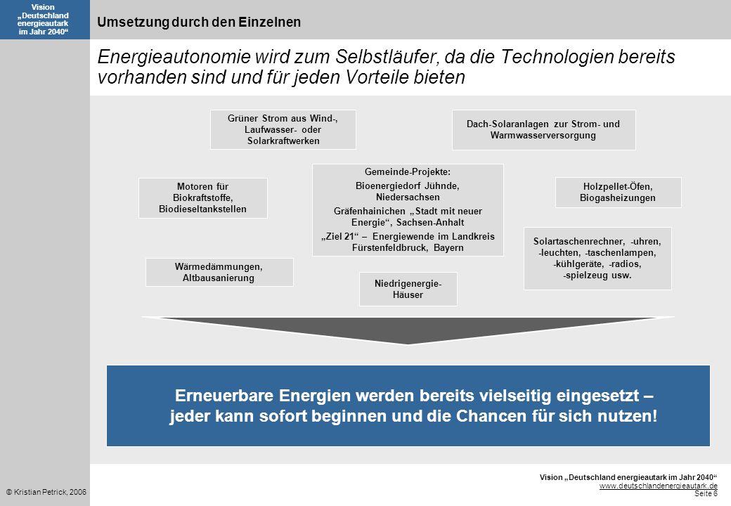 Vision Deutschland energieautark im Jahr 2040 www.deutschlandenergieautark.de Seite 6 © Kristian Petrick, 2006 Vision Deutschland energieautark im Jah