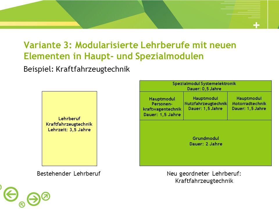 Variante 3: Modularisierte Lehrberufe mit neuen Elementen in Haupt- und Spezialmodulen Beispiel: Kraftfahrzeugtechnik Bestehender LehrberufNeu geordne