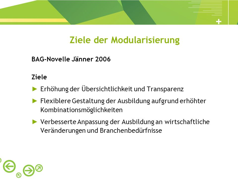 Ziele der Modularisierung BAG-Novelle Jänner 2006 Ziele Erhöhung der Übersichtlichkeit und Transparenz Flexiblere Gestaltung der Ausbildung aufgrund e