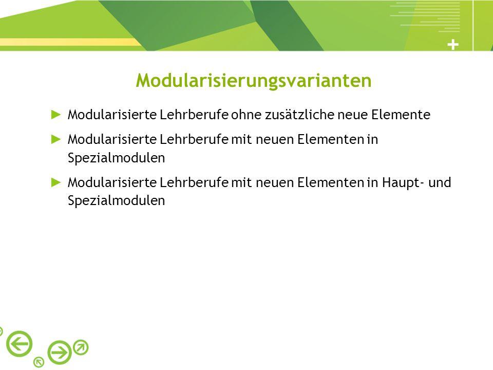 Modularisierungsvarianten Modularisierte Lehrberufe ohne zusätzliche neue Elemente Modularisierte Lehrberufe mit neuen Elementen in Spezialmodulen Mod