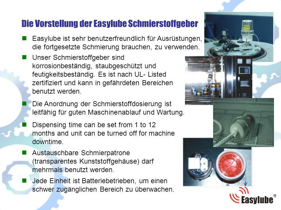 Die Vorstellung der Easylube Schmierstoffgeber Austauschbare Schmierpatrone (transparentes Kunststoffgehäuse) darf mehrmals benutzt werden.