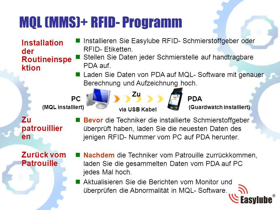 MQL (MMS)+ RFID- Programm Bevor die Techniker die installierte Schmierstoffgeber überprüft haben, laden Sie die neuesten Daten des jenigen RFID- Nummer vom PC auf PDA herunter.
